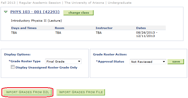 image of class list in grade roster with the import grades from D2L circled