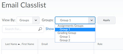 Image of filter to email specific group or section