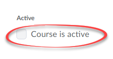 image of course is active option on course offering page, circled