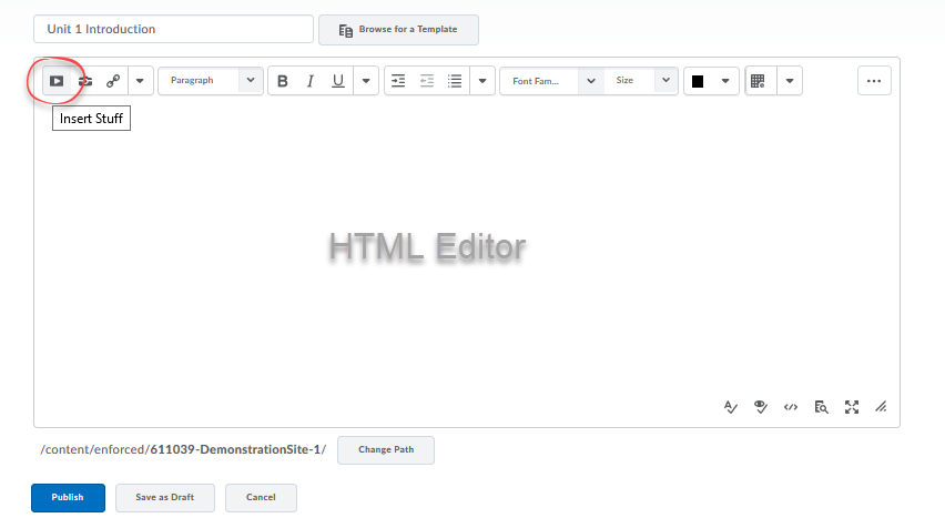 Screenshot of html editor with Insert Stuff button circled