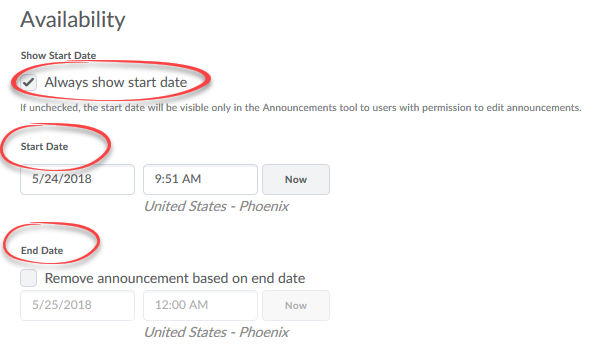 image of avialibilty section of new announcment page with start and end date circled