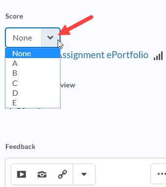 Image of selectbox letter grade options