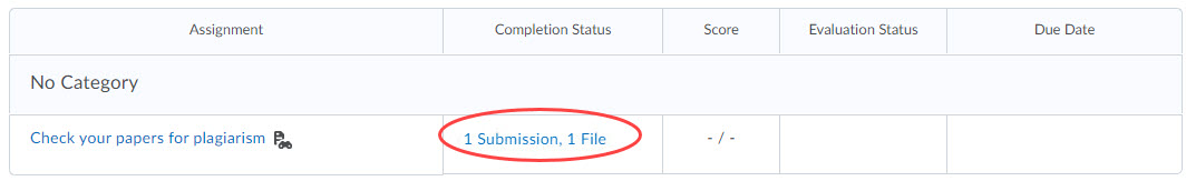 Screenshot of Assignments page with submission link circled.