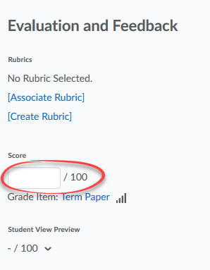 score field in evaluate student submission