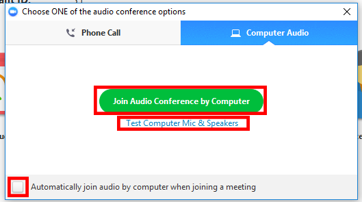 Audio Join Options