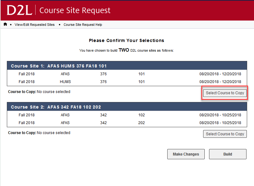 image olf course confirmation page with copy a course button circled