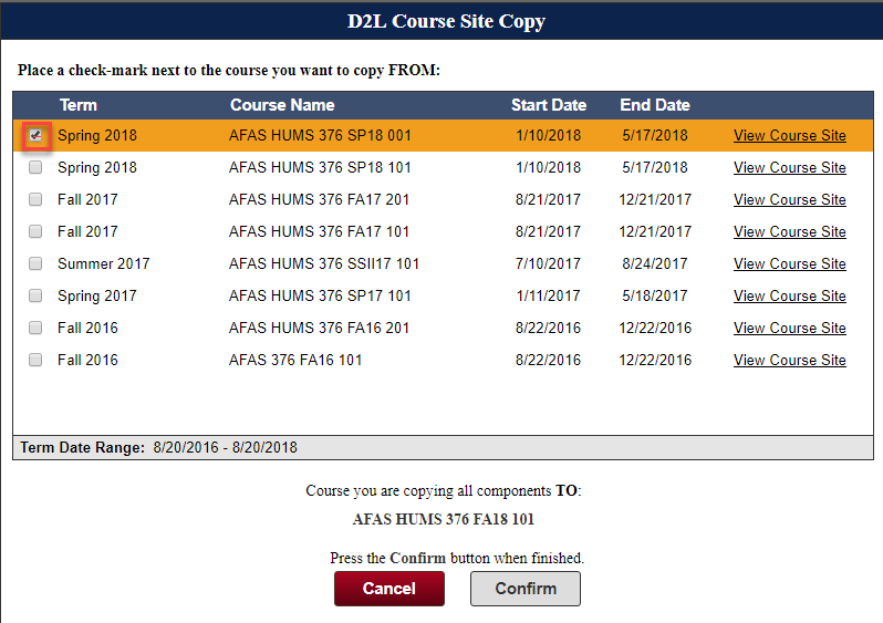 image of list of courses that an instructor could choose from to copy to the new course site