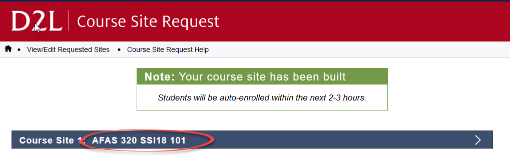 image of couse built confirmatin page with course name circled