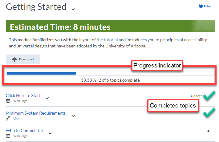 "Shows the progress bar and ""completed"" checkmarks from student view in a module."