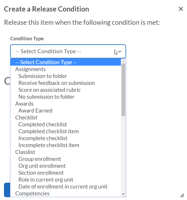 Condition type menu, showing some of the options available.