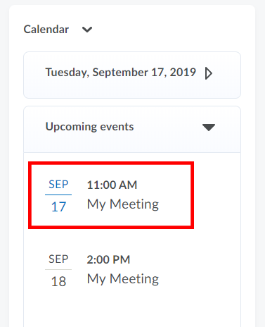 Meeting in D2L Calendar Widget