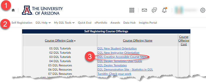 image showing steps to locate self-registration courses