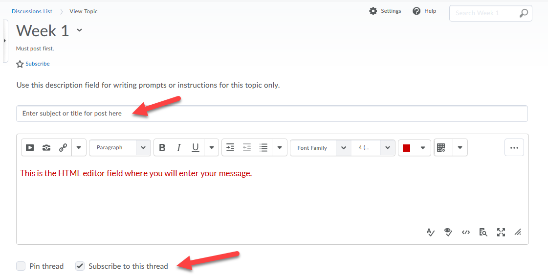 Subject and HTML fields for message and pin thread and subscribe checkboxes