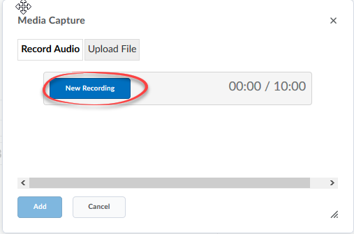 Recording screen with the New Recording button circled