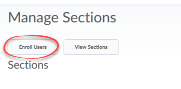 manage sections screen with enroll users button circled