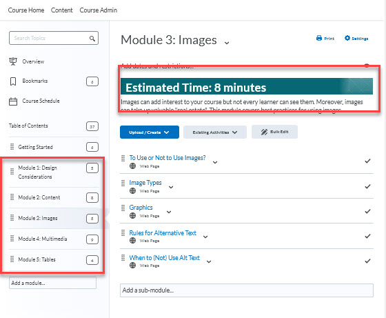 Content Page, module names include the module number and topic, modules include a description and estimated completion time
