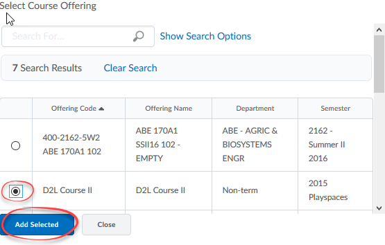 image of Select Course Offering course sleected and Add Selected button circled