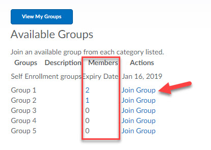 Groups links to view group members and join a group
