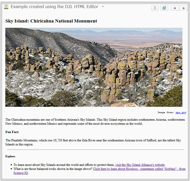 example of a page created in an HTML editor; it shows an image and a description of the Chiricahua National Monument Sky Island.