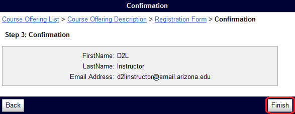 self registration screen with finish button circled