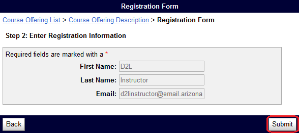 self registration screen with Submit button circled