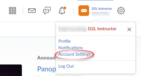 Screenshot of User Settings with Account Settings circled.