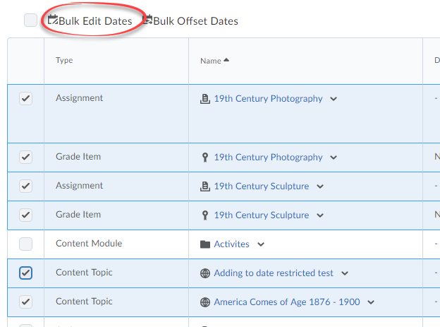 Screenshot of the Bulk Edit Dates option.