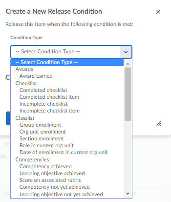 Screenshot of the Release Condition options dropdown box.