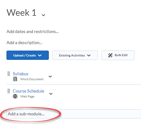 Content module with Add a submodule field circled in red.