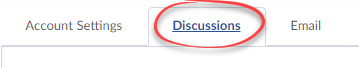 Screenshot of Account Settings with Discussions tab circled.