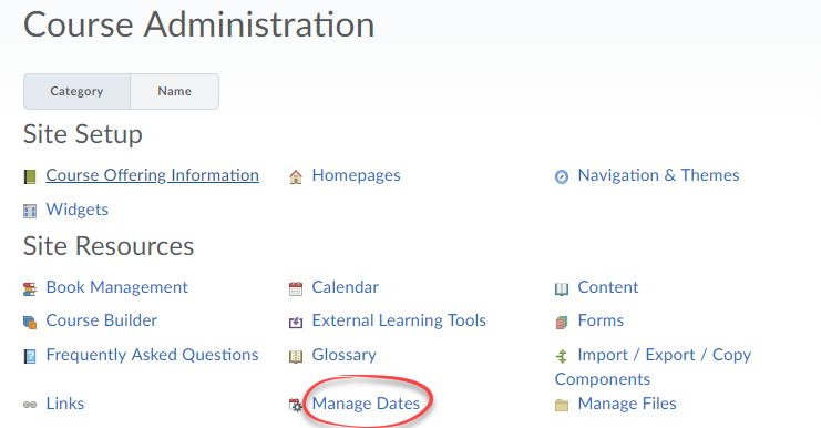 Screenshot of the Manage Dates tool in Course Admin.