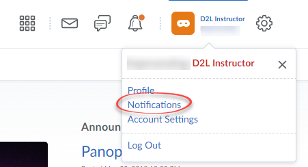Screenshot of User Settings with Notifications circled.