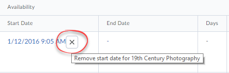 Remove individual dates from items.