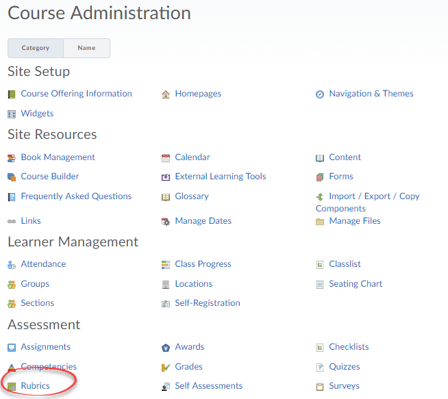 Screenshot of Course Admin with Rubrics circled.