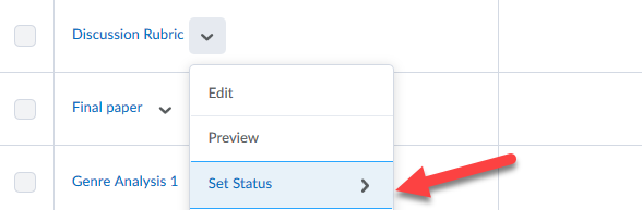 Image shows where to select Set Status to publish rubric