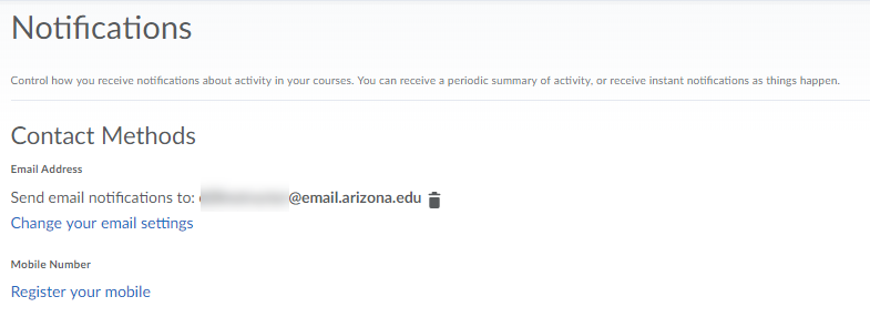 Screenshot of the email and phone editing options.