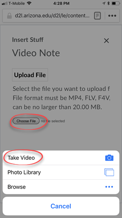 screen shot of mobile device with the Choose File button cirecled and the Take Video option circled