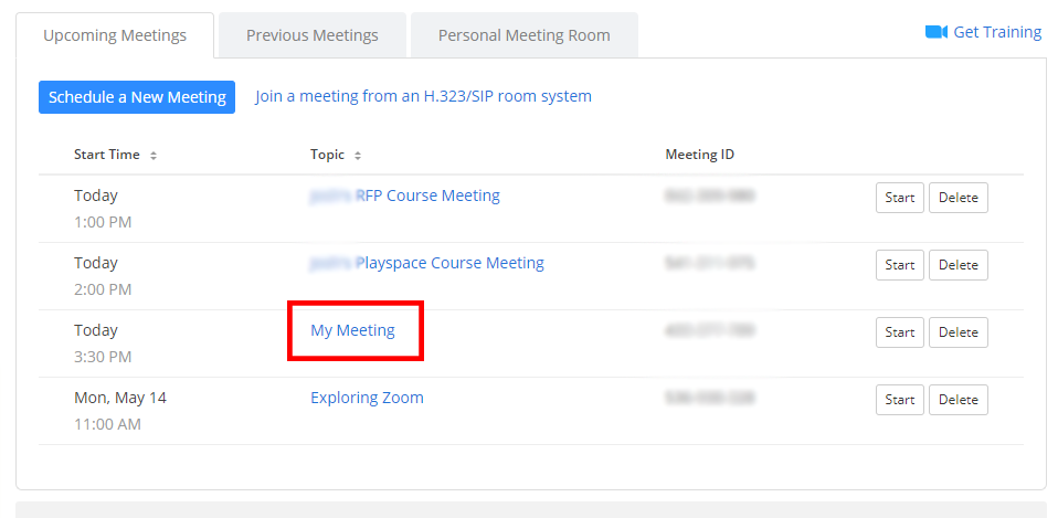 My Meetings Title Link