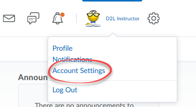 screen shot of persona menu dropdown with Account Settings circled