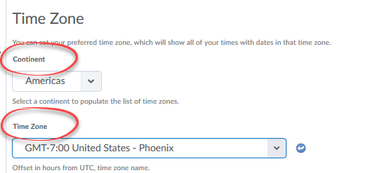 image of time zone section of settings with continent and time zone circled