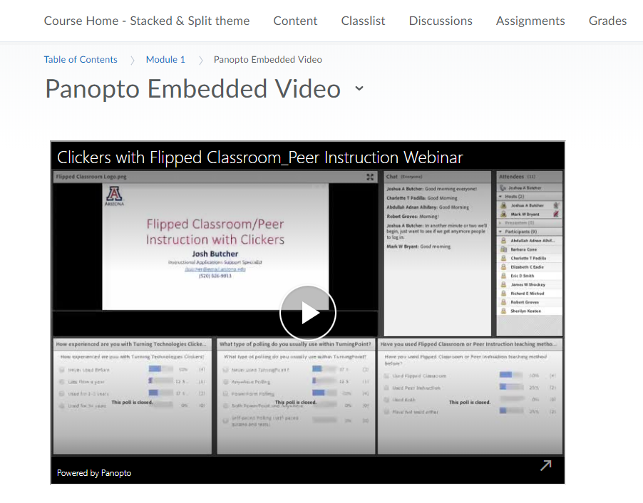 Panopto Embedded Video in D2L