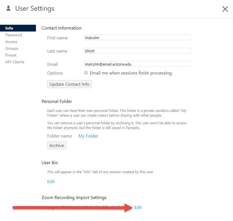 Panopto User Settings Edit button
