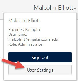 Panopto User Settings