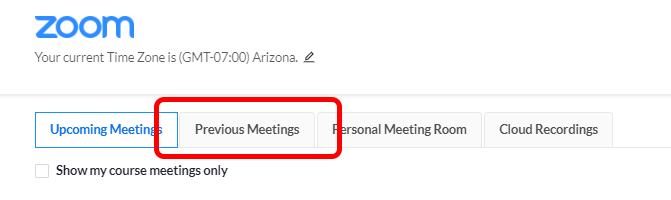 Previous Meetings Tab