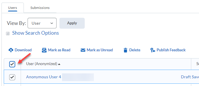 Shows the checkbox to the left of Users, with a student checked below it.