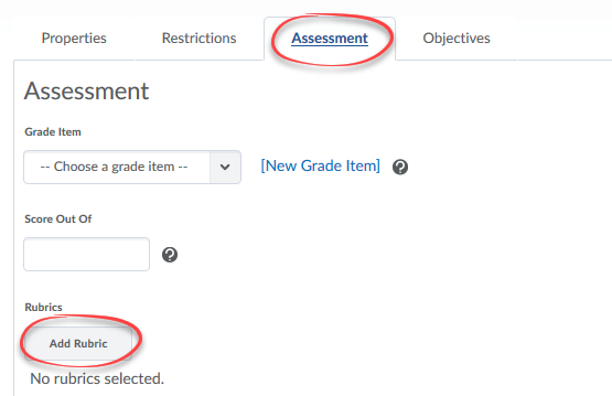 Add Rubric and Assessment tab circled within Edit Topic.