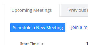 Schedule a New Meeting Button