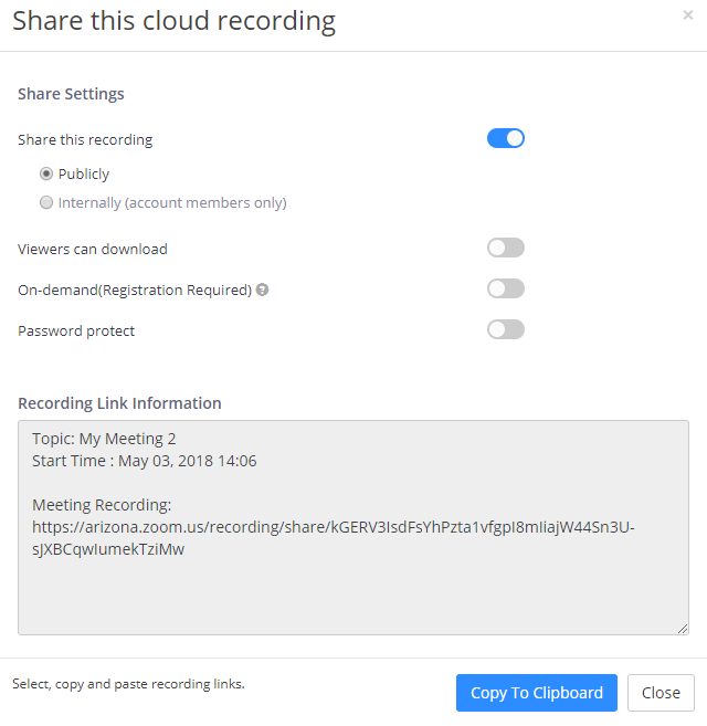 Share Recording Settings