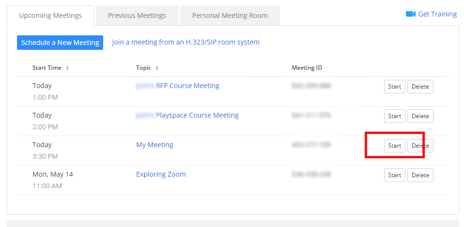 Start Zoom Meeting Button