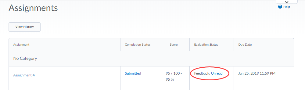 Screenshot of Assignments page with feedback link circled.